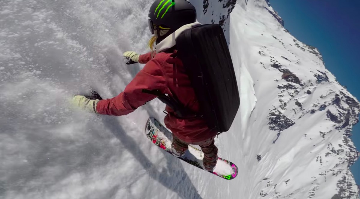 A man riding a snow board