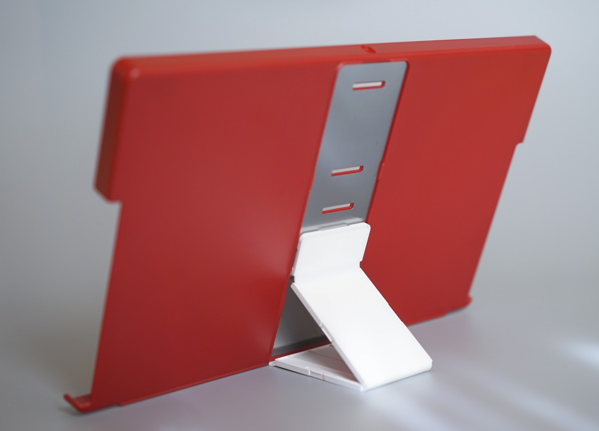 A red and white laptop